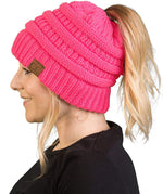 C.C. BeanieTail Women's Ponytail Cable Knit Beanie - Solid Colors