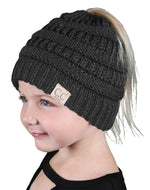 C.C. Kid's BeanieTail Ponytail Cable Knit Beanie - Solid Colors