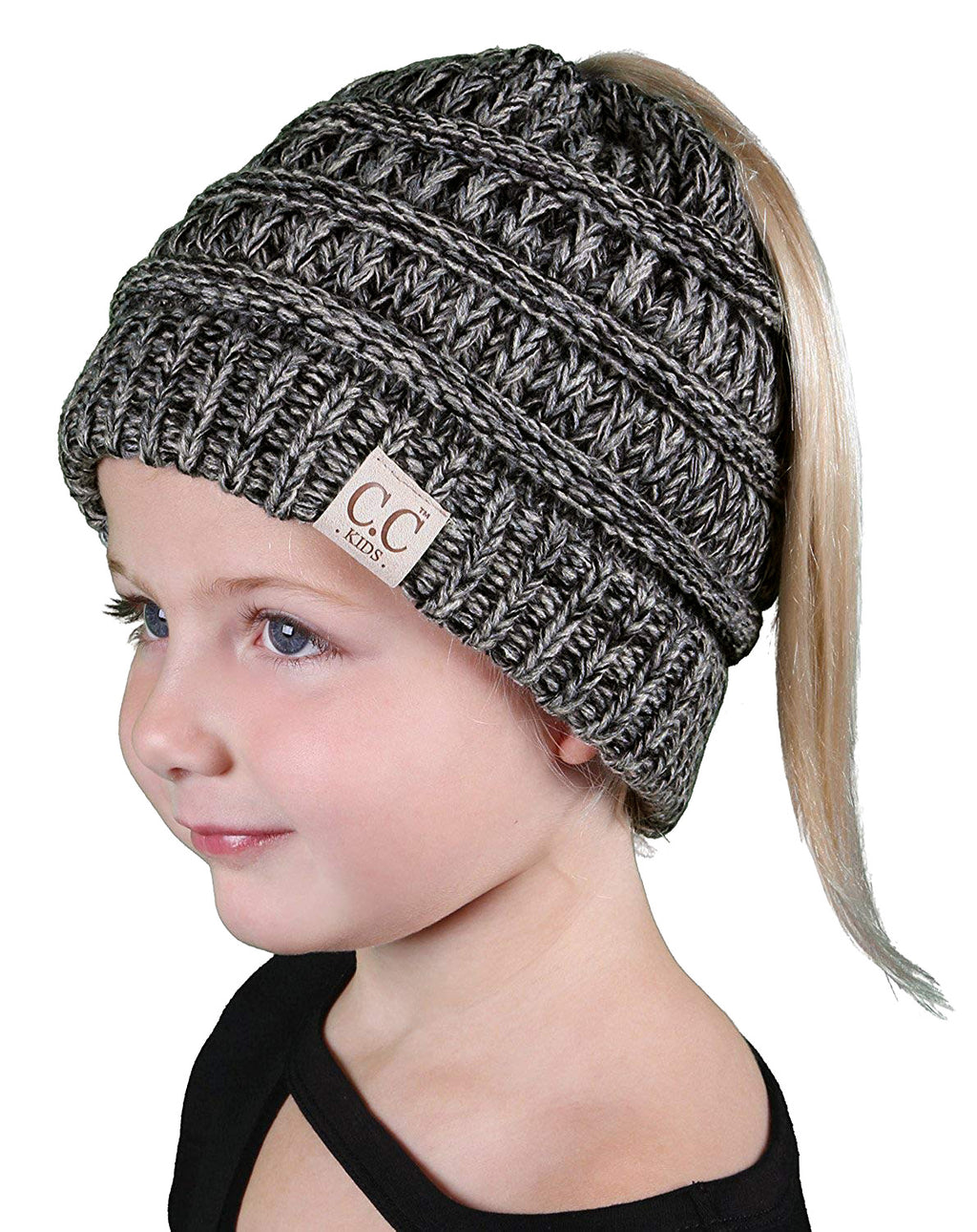 C.C. Kid's BeanieTail Ponytail Cable Knit Beanie - 4 Tone