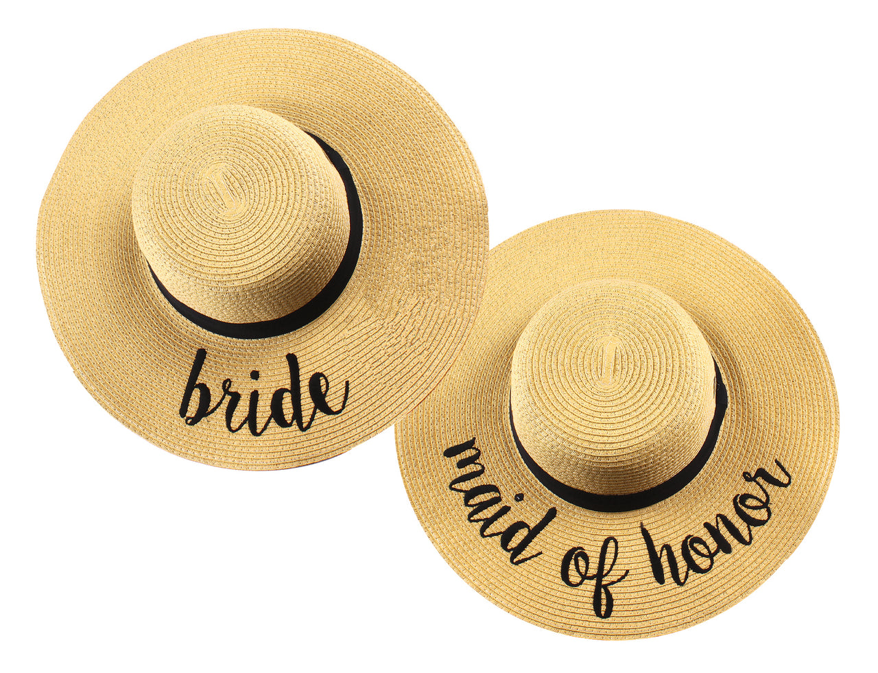 C.C Embroidered Sun Hat Duo - Bride & Maid of Honor