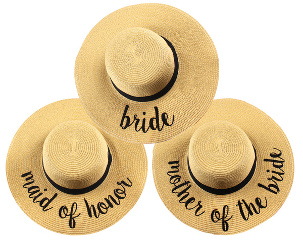 C.C Embroidered Sun Hat Trio - Bride, Maid of Honor & Mother of the Bride