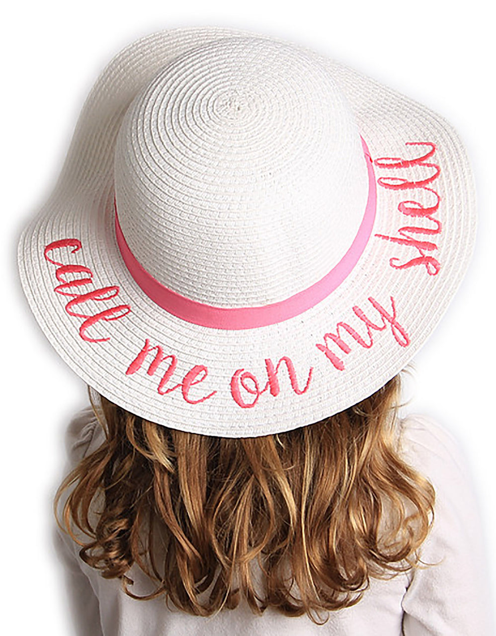 C.C Girls Embroidered Sun Hat - Call Me On My Shell (White)
