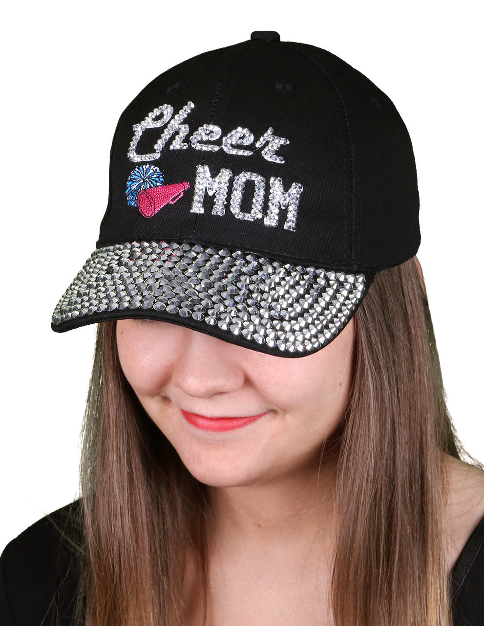 Funky Junque's Women's Silver Rhinestone Bill Sports Mom Bling Baseball Cap Hat - Cheer Black