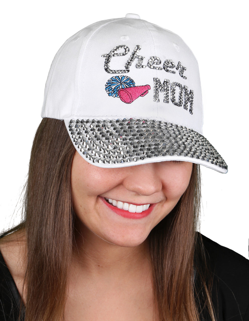 Funky Junque's Women's Silver Rhinestone Bill Sports Mom Bling Baseball Cap Hat - Cheer White