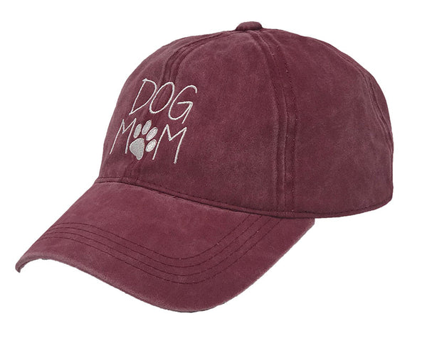 Unconstructed Dad Hat - Dog Mom (Burgundy)