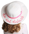 C.C Girls Embroidered Sun Hat - Do Not Disturb (White)