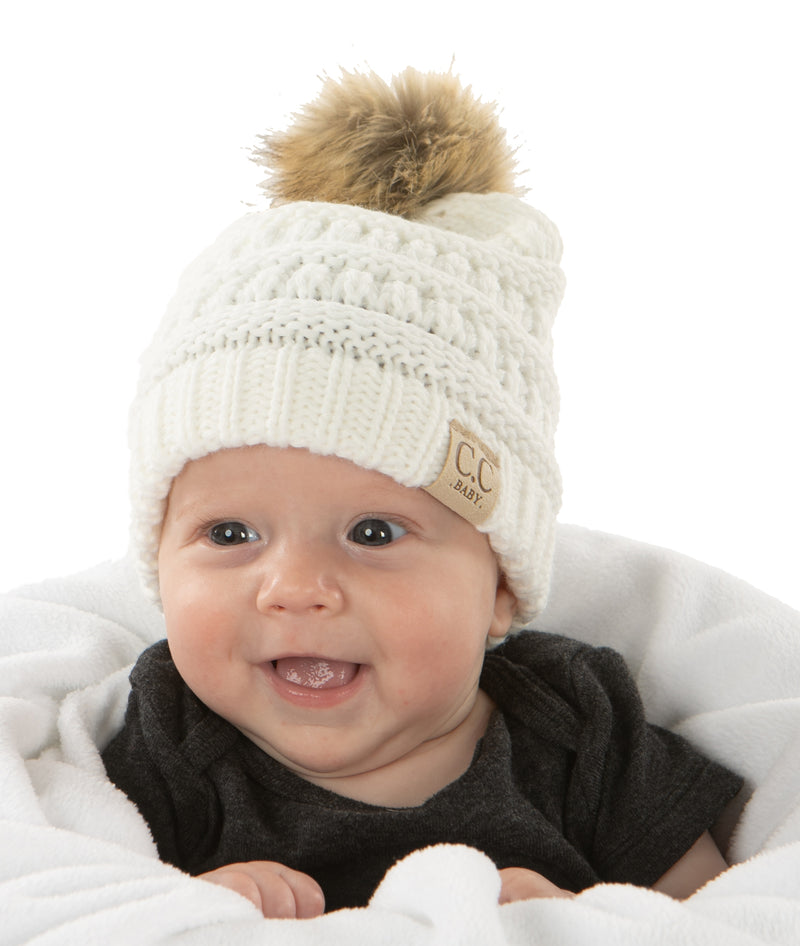 C.C. Baby/Infant Pom Beanie - Faux Fur