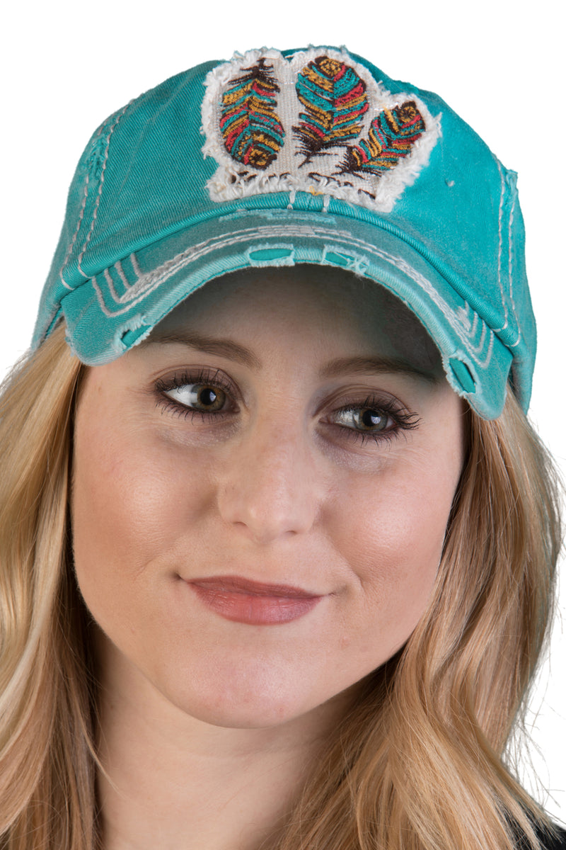 Distressed Patch Baseball Cap - Free Spirit (Turquoise)