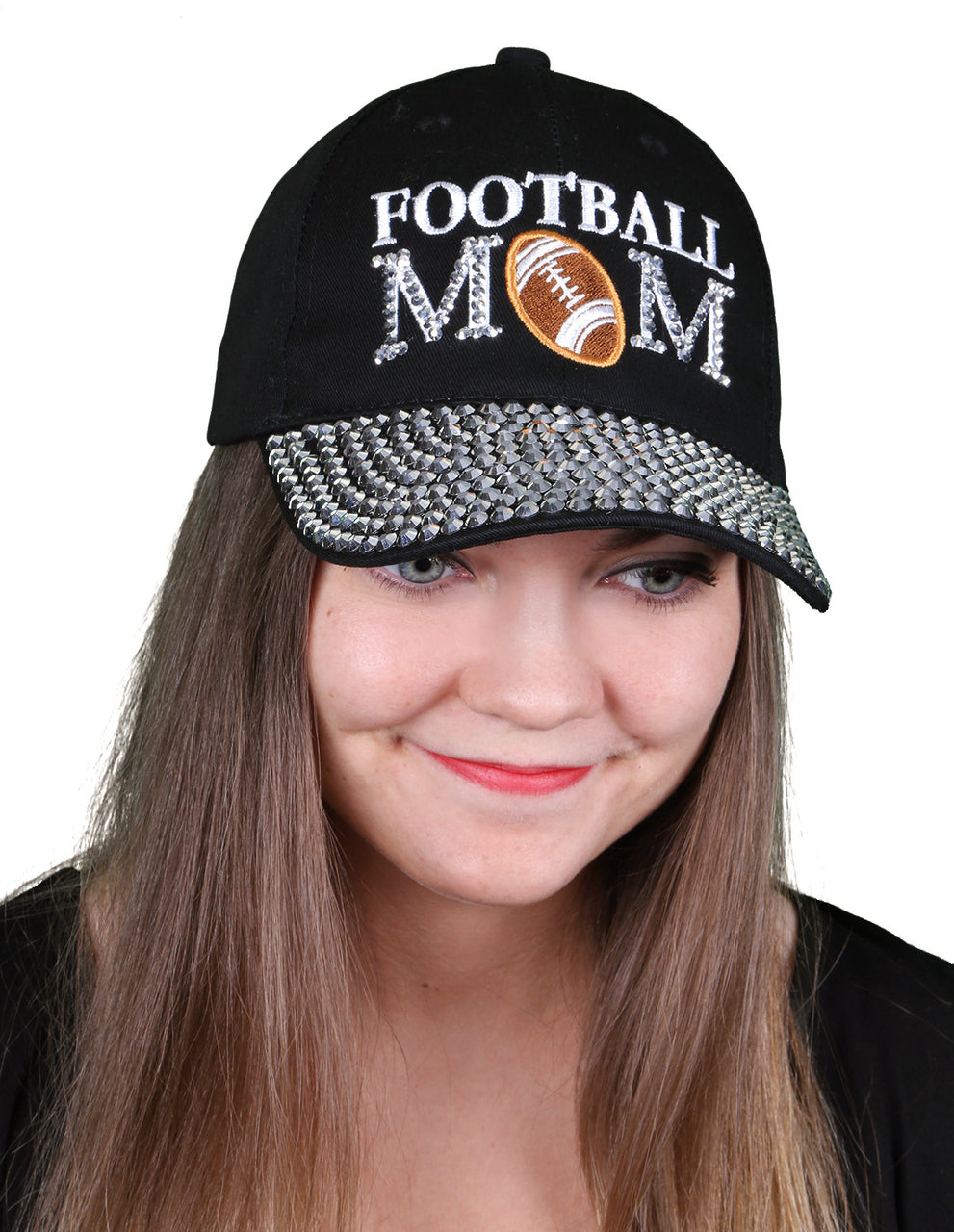 Funky Junque's Women's Silver Rhinestone Bill Sports Mom Bling Baseball Cap Hat - Football Black