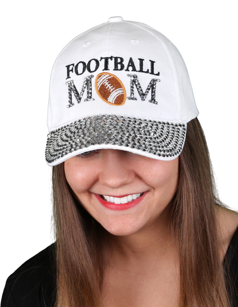 Funky Junque's Women's Silver Rhinestone Bill Sports Mom Bling Baseball Cap Hat - Football White