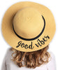 C.C Girls Embroidered Sun Hat - Good Vibes (Natural)