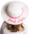 C.C Girls Embroidered Sun Hat - Good Vibes (White)