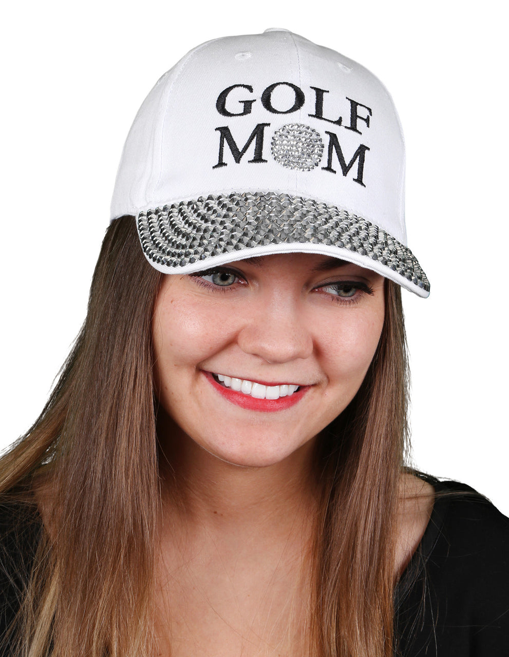 Funky Junque's Women's Silver Rhinestone Bill Sports Mom Bling Baseball Cap Hat - Golf White