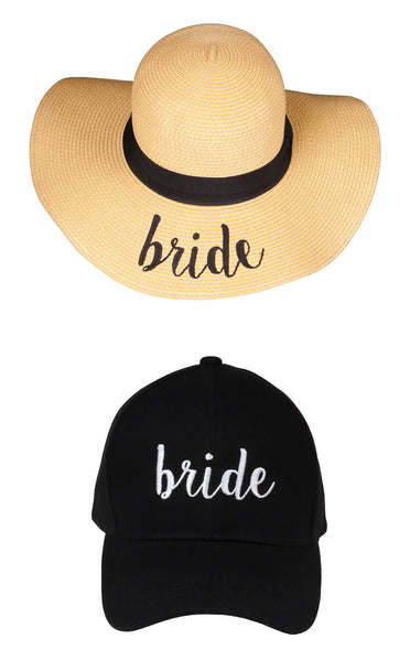 C.C Embroidered Baseball Cap & Sun Hat - Bride (Black Baseball Cap)