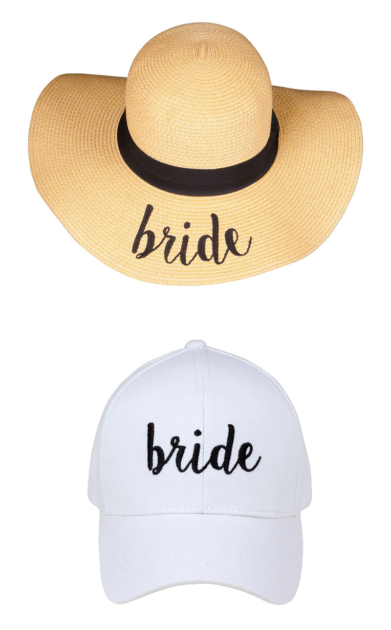 C.C Embroidered Baseball Cap & Sun Hat - Bride (White Baseball Cap)