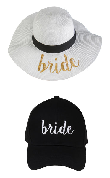 C.C Embroidered Baseball Cap & Sun Hat - Bride (White/Gold Sun Hat with Black Baseball Cap)