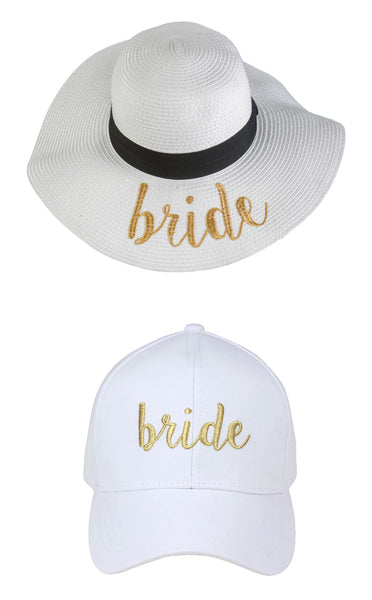 C.C Embroidered Baseball Cap & Sun Hat - Bride (White/Gold Hat Bundle)