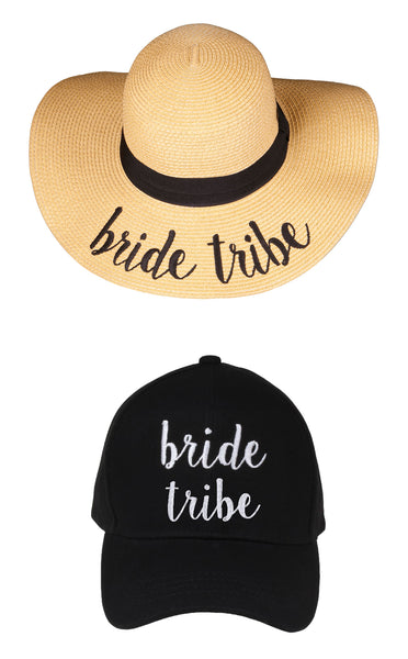 C.C Embroidered Baseball Cap & Sun Hat - Bride Tribe (Black Baseball Cap)