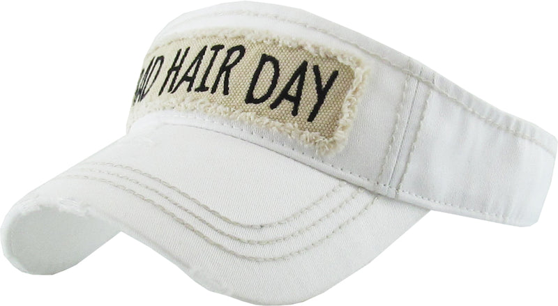 Distressed Visor - Bad Hair Day (White)