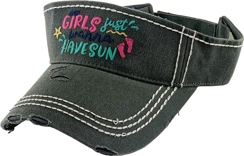 Distressed Patch Visor - Girls Just Wanna Have Sun