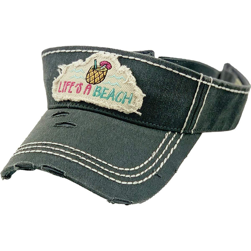 Distressed Patch Visor - Life's a Beach
