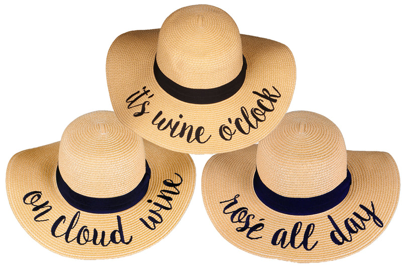 C.C Embroidered Sun Hat Trio- It's Wine O'Clock, On Cloud Wine, Rosé All Day