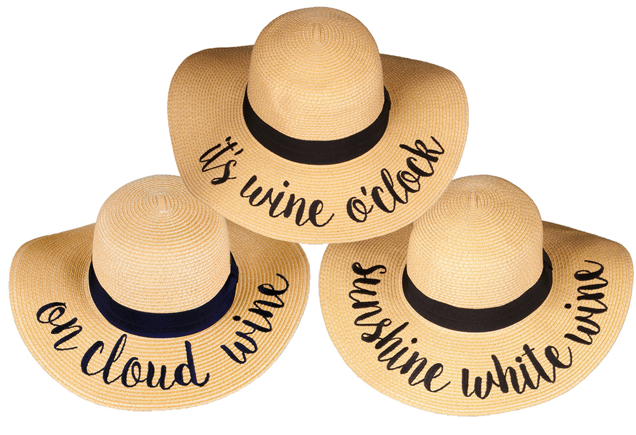 C.C Embroidered Sun Hat Trio- It's Wine O'Clock, On Cloud Wine, Sunshine White Wine