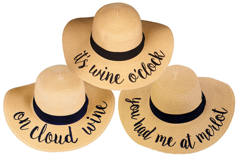 C.C Embroidered Sun Hat Trio- It's Wine O'Clock, On Cloud Wine, You Had Me at Merlot