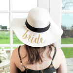 C.C Embroidered Sun Hat - Bride (White with Gold Lettering)