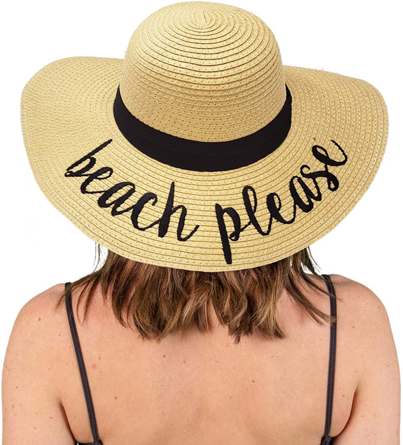 Embroidered Sun Hat - Beach Please