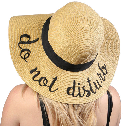 Funky Junque's Women's Bold Cursive Embroidered Adjustable Beach Floppy Sun Hat - Do Not Disturb