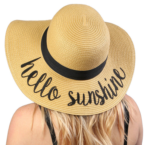 Funky Junque's Women's Bold Cursive Embroidered Adjustable Beach Floppy Sun Hat - Hello Sunshine