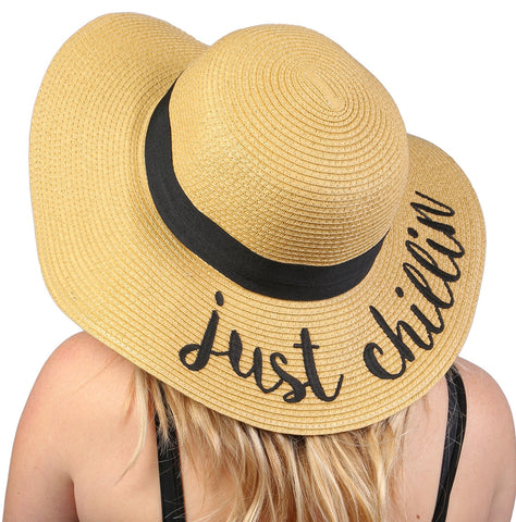 Funky Junque's Women's Bold Cursive Embroidered Adjustable Beach Floppy Sun Hat - Just Chillin