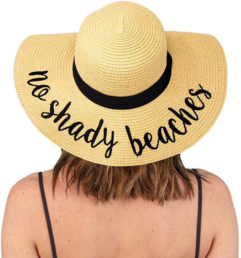 Embroidered Sun Hat - No Shady Beaches
