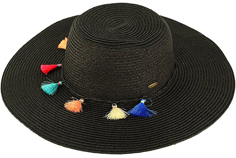 C.C Sun Hat - Black with Multicolored Tassels