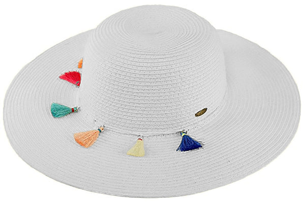 C.C Sun Hat - White with Multicolored Tassels