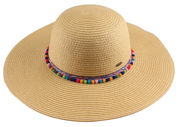 C.C Sun Hat - Multicolored Poms (Natural)