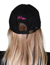 Women's Breast Cancer Awareness Pink Ribbon Logo Hope Shredded Baseball Hat Cap - Black