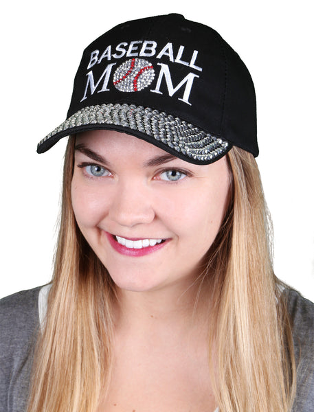 Funky Junque's Women's Silver Rhinestone Bill Sports Mom Bling Baseball Cap Hat - Baseball Black