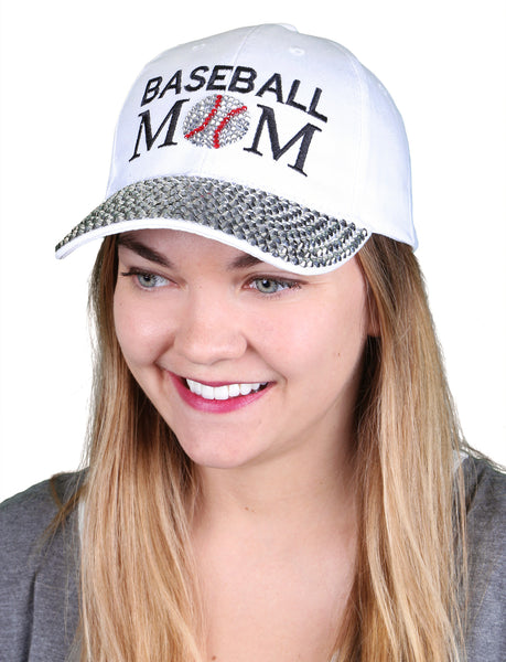 Funky Junque's Women's Silver Rhinestone Bill Sports Mom Bling Baseball Cap Hat - Baseball White