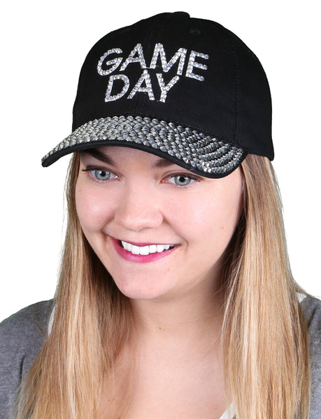 Funky Junque's Women's Silver Rhinestone Bill Sports Mom Bling Baseball Cap Hat - Game Day Black