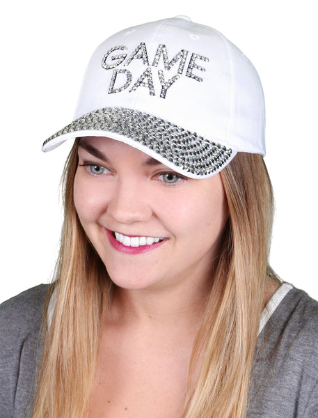 Funky Junque's Women's Silver Rhinestone Bill Sports Mom Bling Baseball Cap Hat - Game Day White