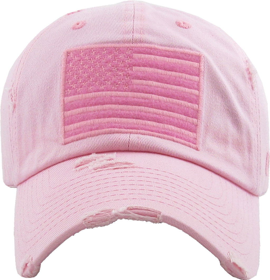 Distressed Baseball Cap -American Flag
