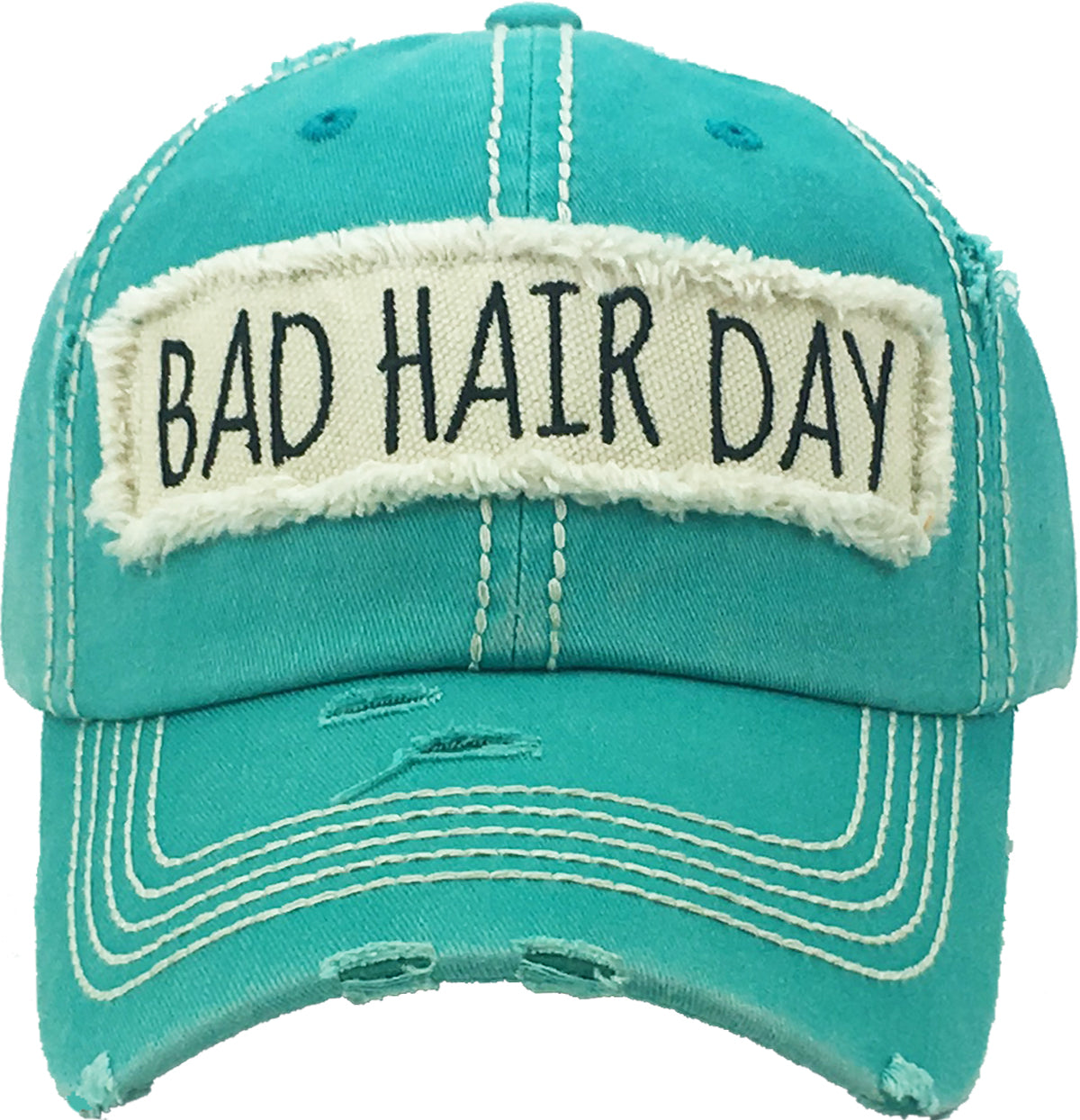 Distressed Patch Baseball Cap -Bad Hair Day (Turquoise)