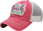 Distressed Patch Baseball Cap - Beach Please (Coral)