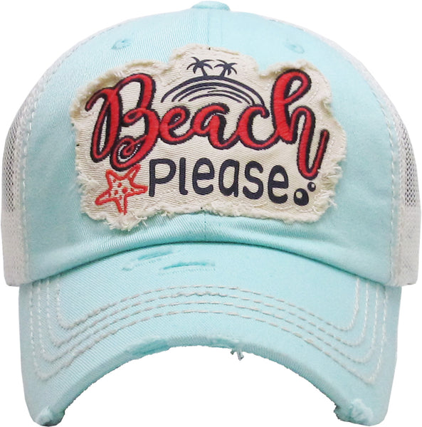 Distressed Patch Baseball Cap - Beach Please (Mint)