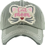 Distressed Patch Hat - Cat Mom