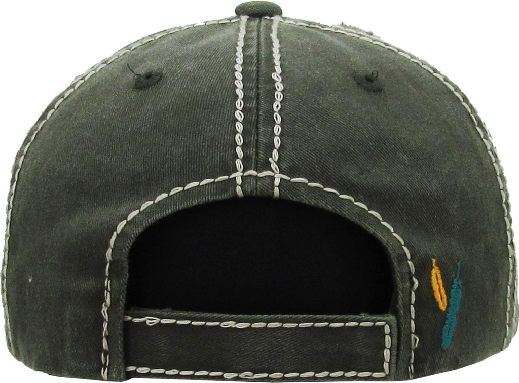 Distressed Patch Baseball Cap - Free Spirit (Olive)