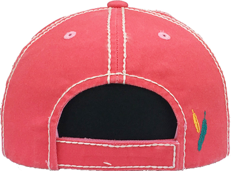 Distressed Patch Baseball Cap - Free Spirit (Coral)