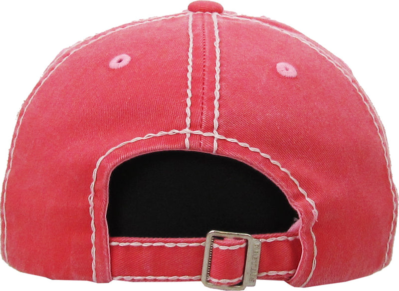 Distressed Patch Baseball Cap - Happy Camper (Coral)